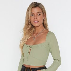 Nasty Gal Sweet on You Square Neck Crop Top